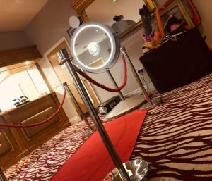 Beauty Mirror Photo With Red Carpet & Barrier & Ropes